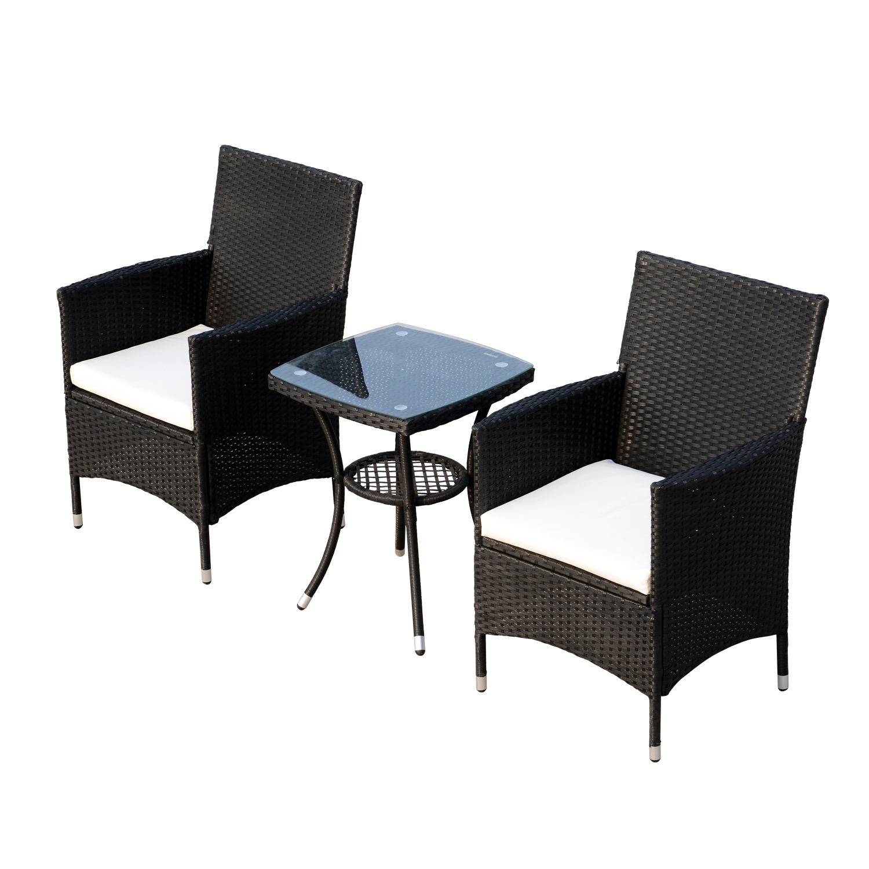 outsunny set mobili da giardino rattan set arredamento 3pz