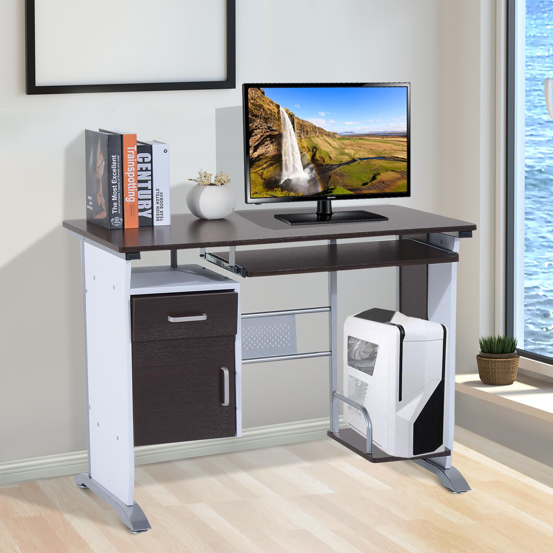 homcom Scrivania Porta PC Computer da Ufficio con Cassetto Legno 100 /× 52 /× 75cm