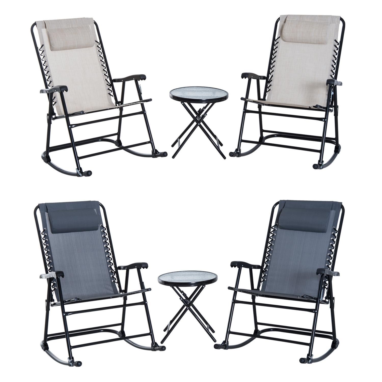 Sedia A Dondolo Moderne.Dettagli Su Set Tavolo Con 2 Sedie A Dondolo 3pz Pieghevoli Moderne Tessuto Textilene