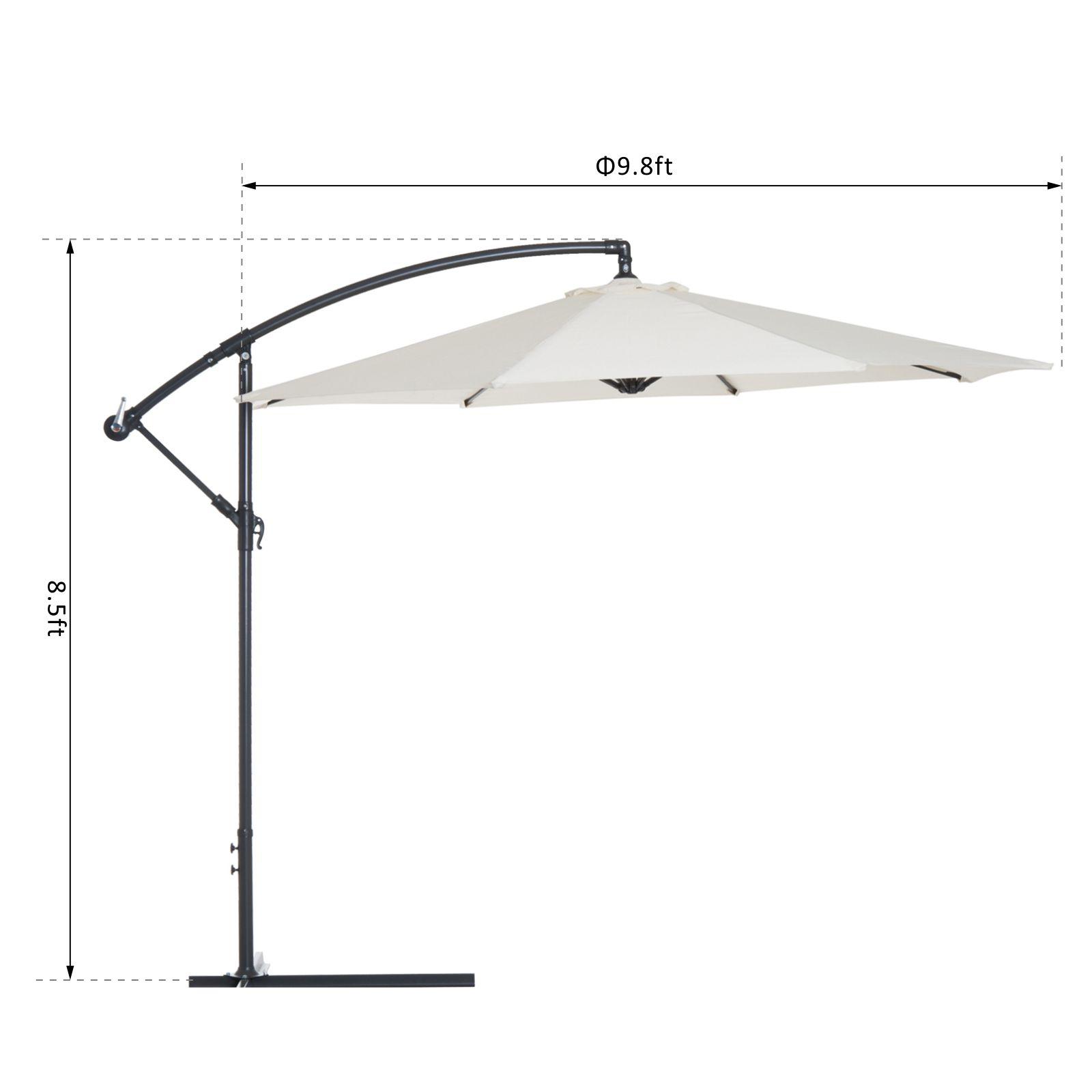 Outsunny-10-039-Deluxe-Patio-Umbrella-Outdoor-Market-Parasol-Banana-Hanging-Offset thumbnail 3