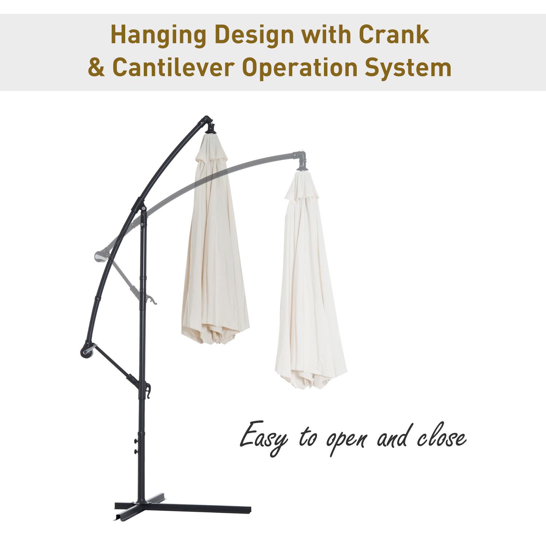 Outsunny-10-039-Deluxe-Patio-Umbrella-Outdoor-Market-Parasol-Banana-Hanging-Offset thumbnail 4