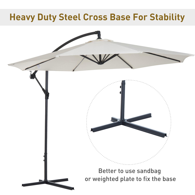 Outsunny-10-039-Deluxe-Patio-Umbrella-Outdoor-Market-Parasol-Banana-Hanging-Offset thumbnail 5