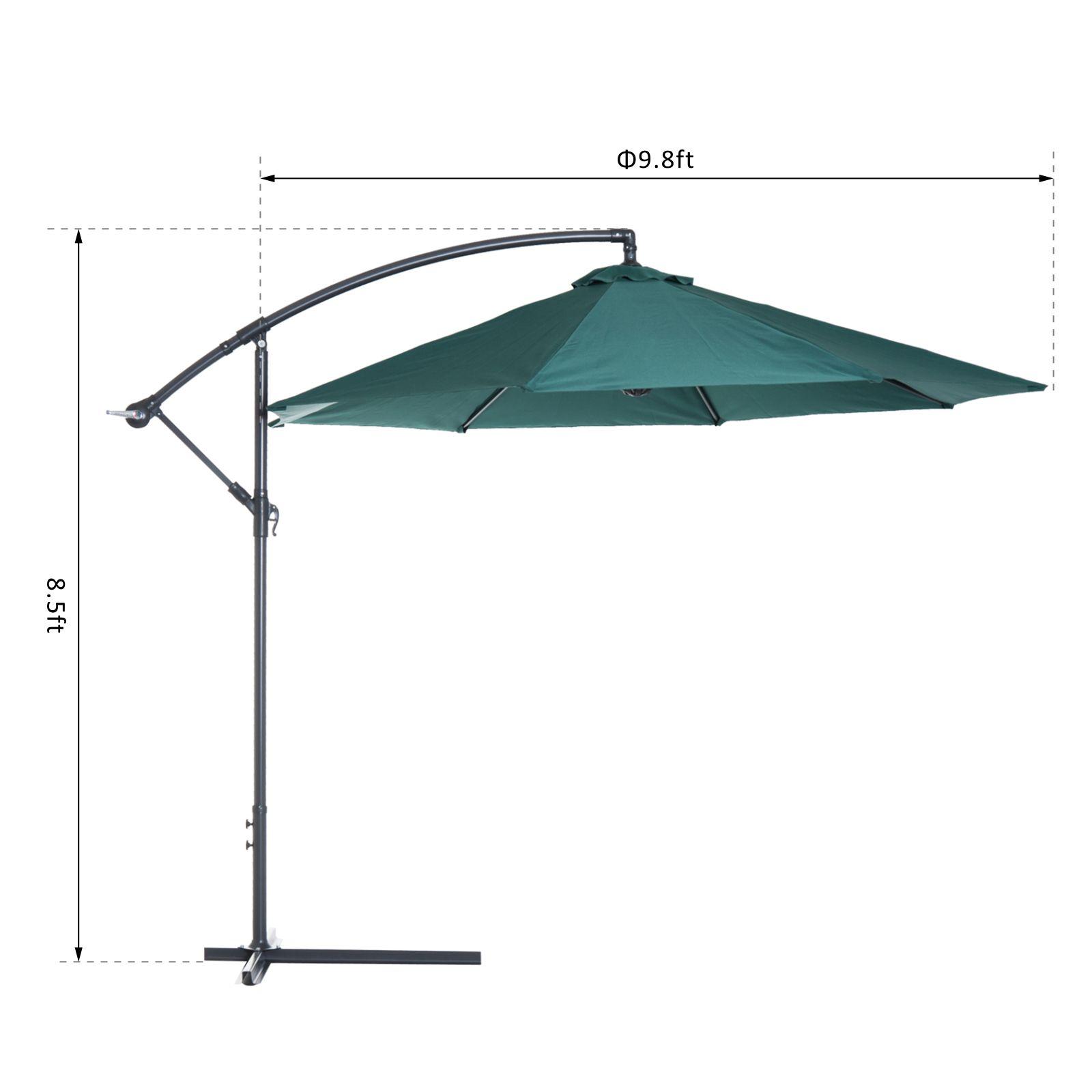 Outsunny-10-039-Deluxe-Patio-Umbrella-Outdoor-Market-Parasol-Banana-Hanging-Offset thumbnail 23