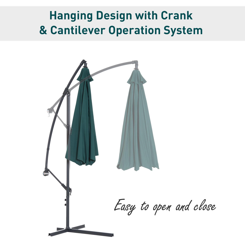 Outsunny-10-039-Deluxe-Patio-Umbrella-Outdoor-Market-Parasol-Banana-Hanging-Offset thumbnail 24