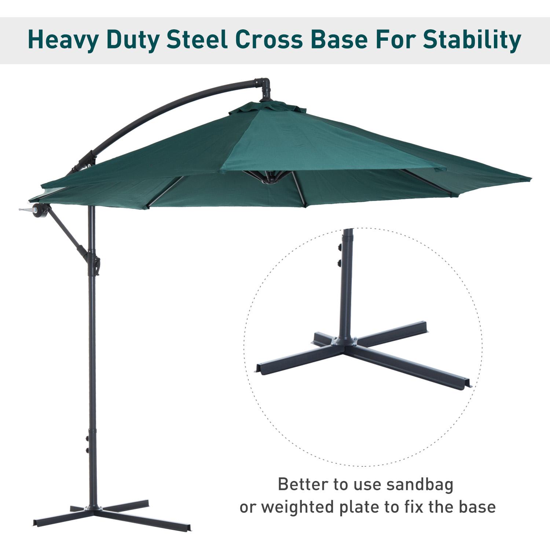 Outsunny-10-039-Deluxe-Patio-Umbrella-Outdoor-Market-Parasol-Banana-Hanging-Offset thumbnail 25