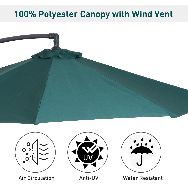 Outsunny-10-039-Deluxe-Patio-Umbrella-Outdoor-Market-Parasol-Banana-Hanging-Offset thumbnail 27