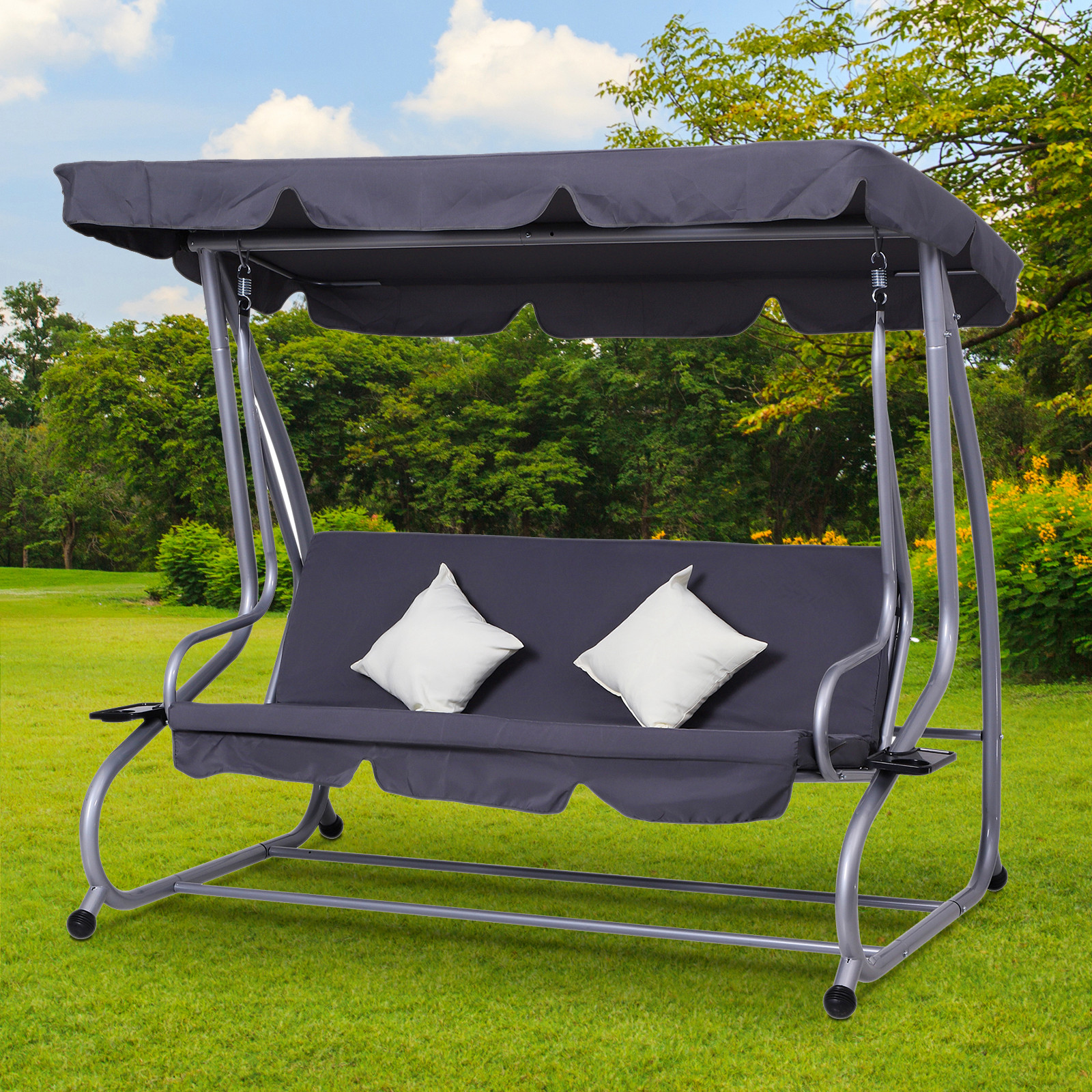 Details About 3 Seater Covered Swing Chair Garden Hammock And Bed Heavy Duty W Canopy And 2