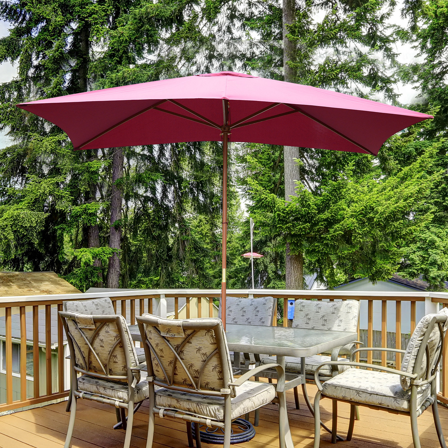 outsunny 7 x10 wooden rectangle market patio sun - Rectangle Patio Umbrella