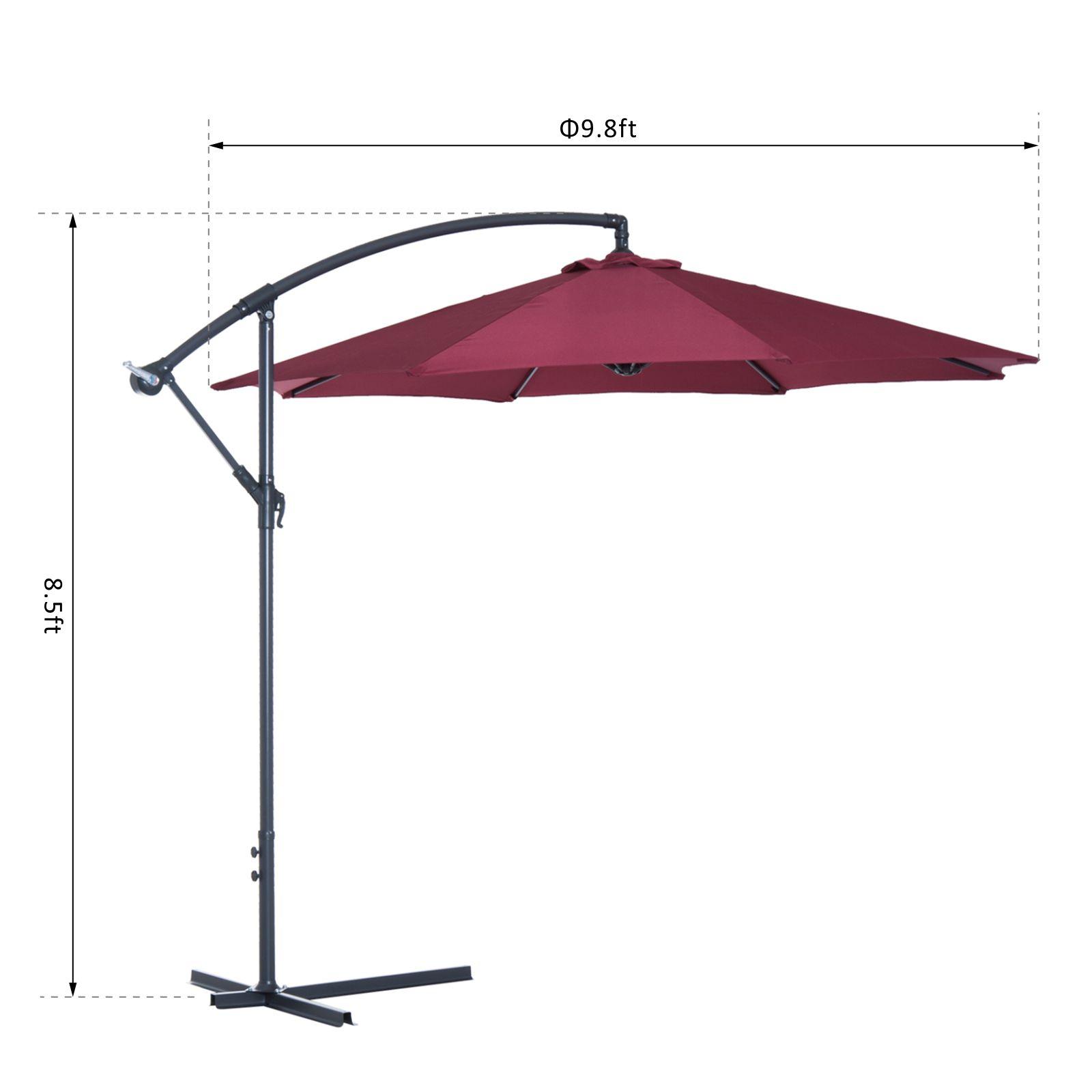 Outsunny-10-039-Deluxe-Patio-Umbrella-Outdoor-Market-Parasol-Banana-Hanging-Offset thumbnail 35