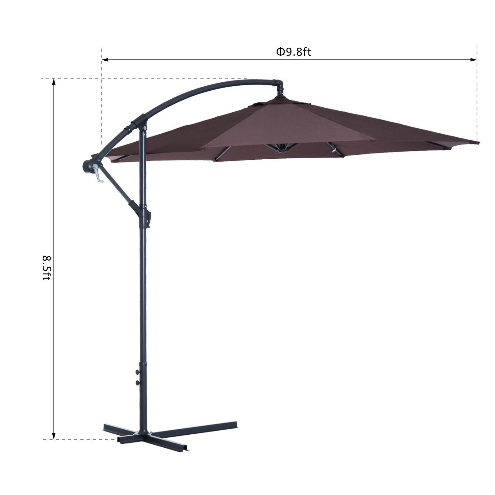 Outsunny-10-039-Deluxe-Patio-Umbrella-Outdoor-Market-Parasol-Banana-Hanging-Offset thumbnail 14