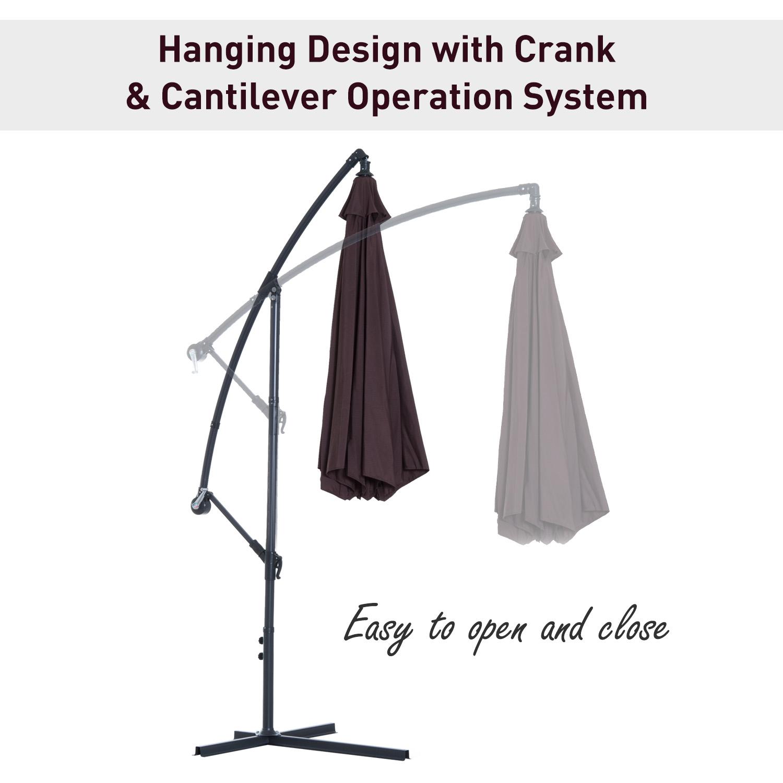 Outsunny-10-039-Deluxe-Patio-Umbrella-Outdoor-Market-Parasol-Banana-Hanging-Offset thumbnail 15