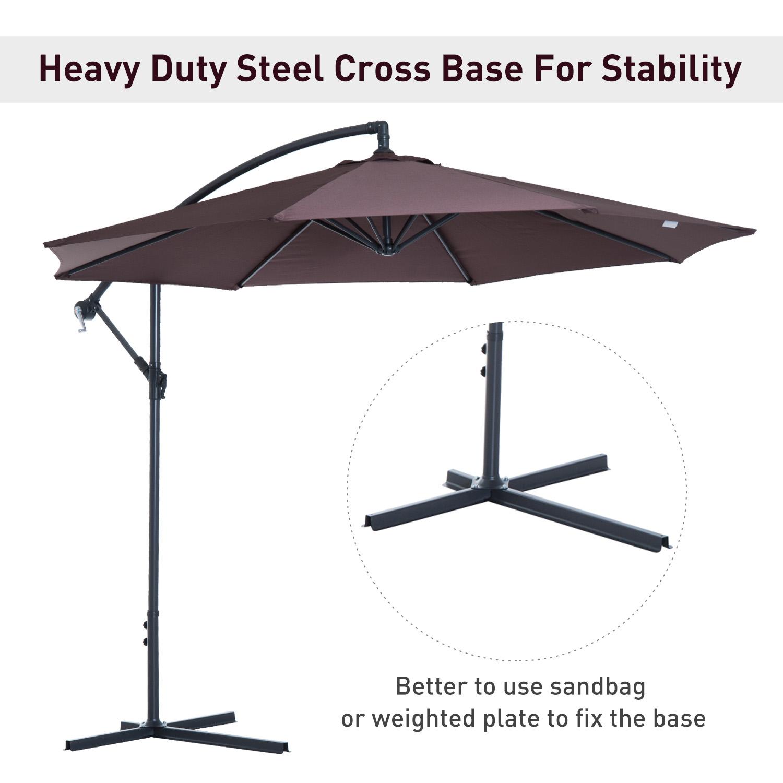 Outsunny-10-039-Deluxe-Patio-Umbrella-Outdoor-Market-Parasol-Banana-Hanging-Offset thumbnail 16