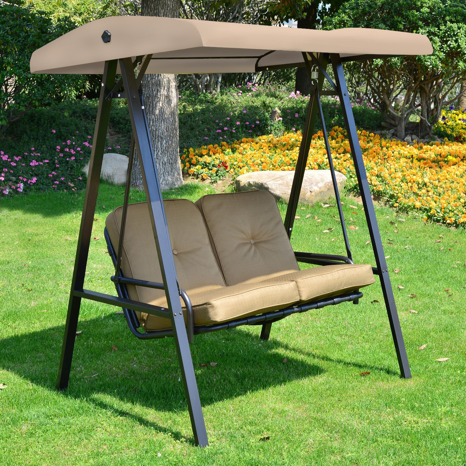 Outdoor Patio Backyard Garden Free Standing 3 Person Porch Swing Hammock Bench Adjustable Canopy Loveseat Convertible Bed 3 Comfortable Seat Durable Black Steel Frame Beige Cushioned Fabric Porch Swings