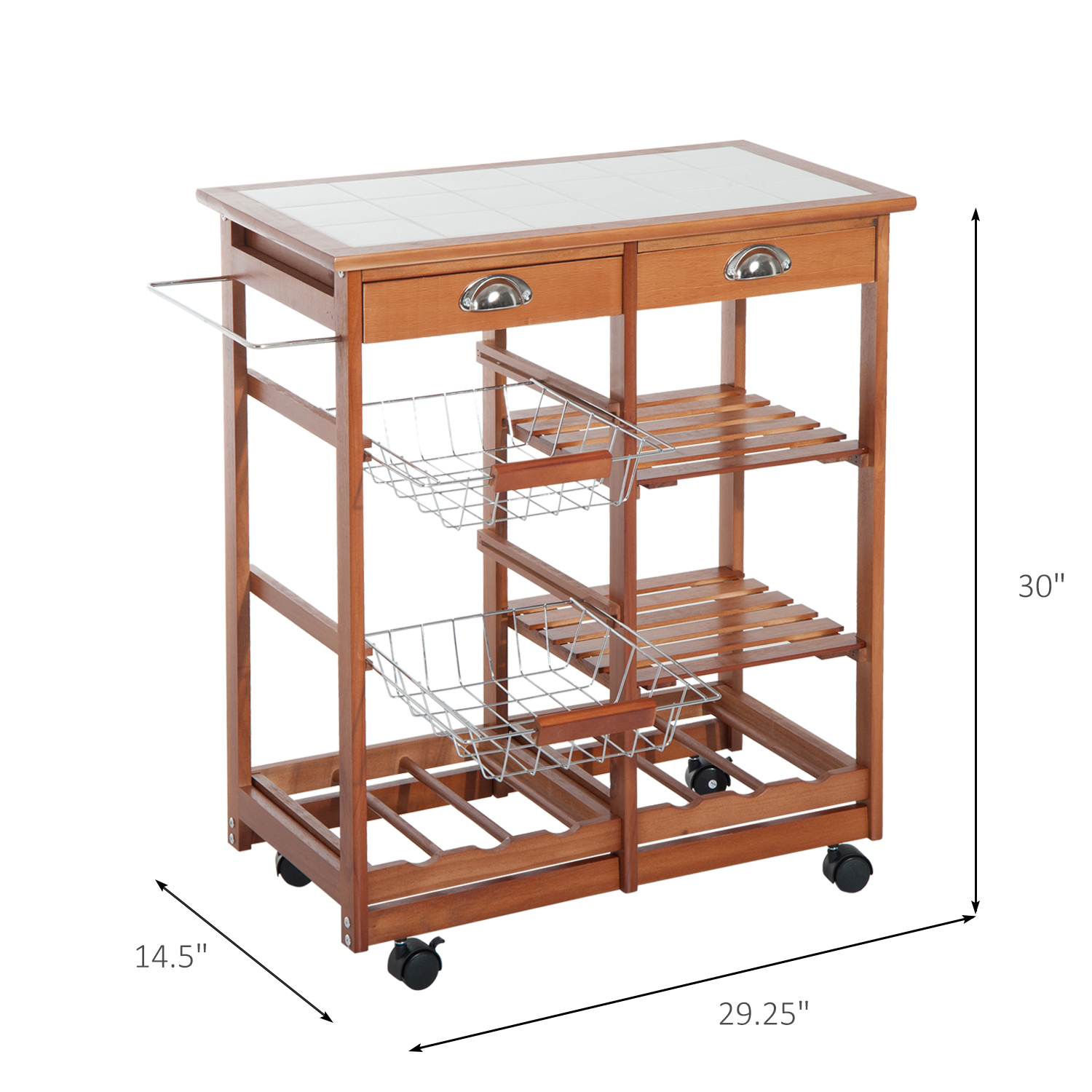Rolling Kitchen Trolley Cart Wine Rack Storage 2 Drawers Buffet Table Countertop Ebay