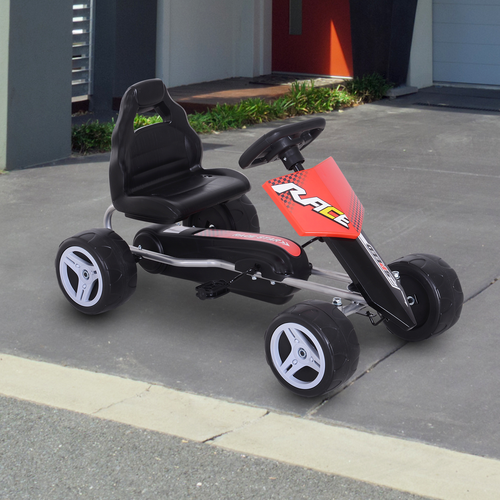 Durable Pedal Go Kart Racing Style Children Ride on Car Outdoor Racer Red
