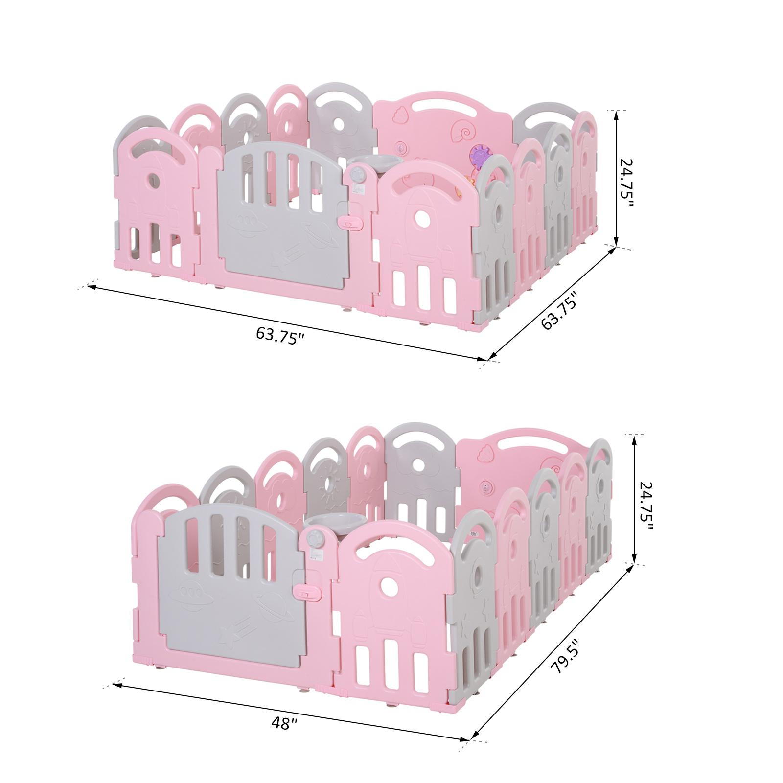 Qaba-14-Pcs-Safety-Children-Playpen-Pink-Game-Panel-Anti-Pushing-Over thumbnail 20