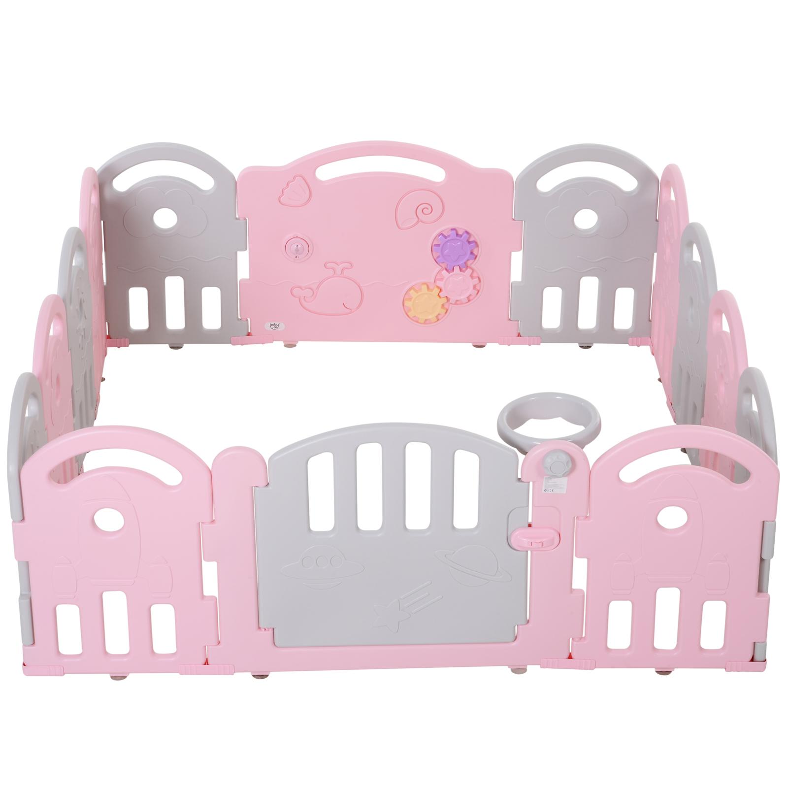 Qaba-14-Pcs-Safety-Children-Playpen-Pink-Game-Panel-Anti-Pushing-Over thumbnail 26