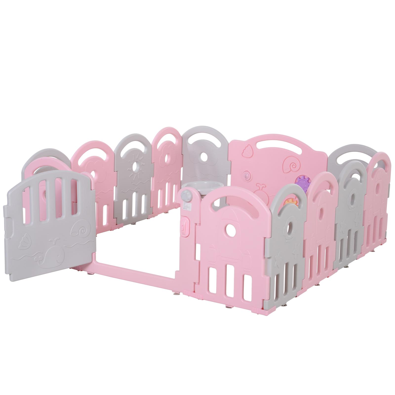 Qaba-14-Pcs-Safety-Children-Playpen-Pink-Game-Panel-Anti-Pushing-Over thumbnail 25
