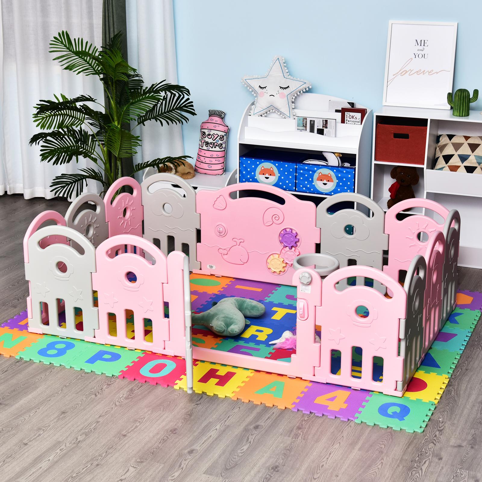 Qaba-14-Pcs-Safety-Children-Playpen-Pink-Game-Panel-Anti-Pushing-Over thumbnail 21