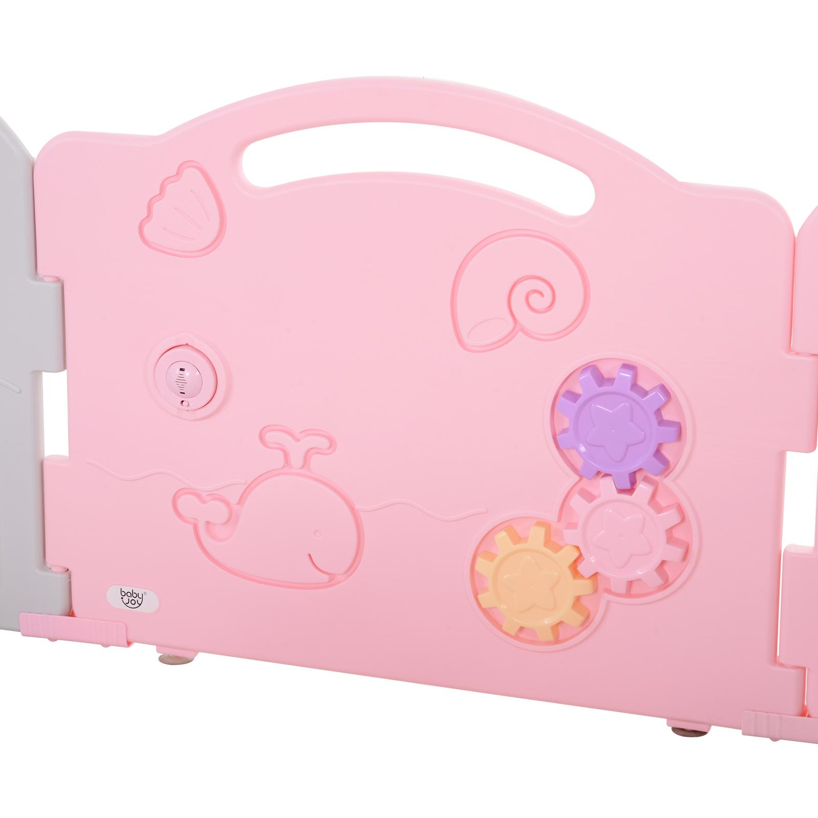 Qaba-14-Pcs-Safety-Children-Playpen-Pink-Game-Panel-Anti-Pushing-Over thumbnail 22