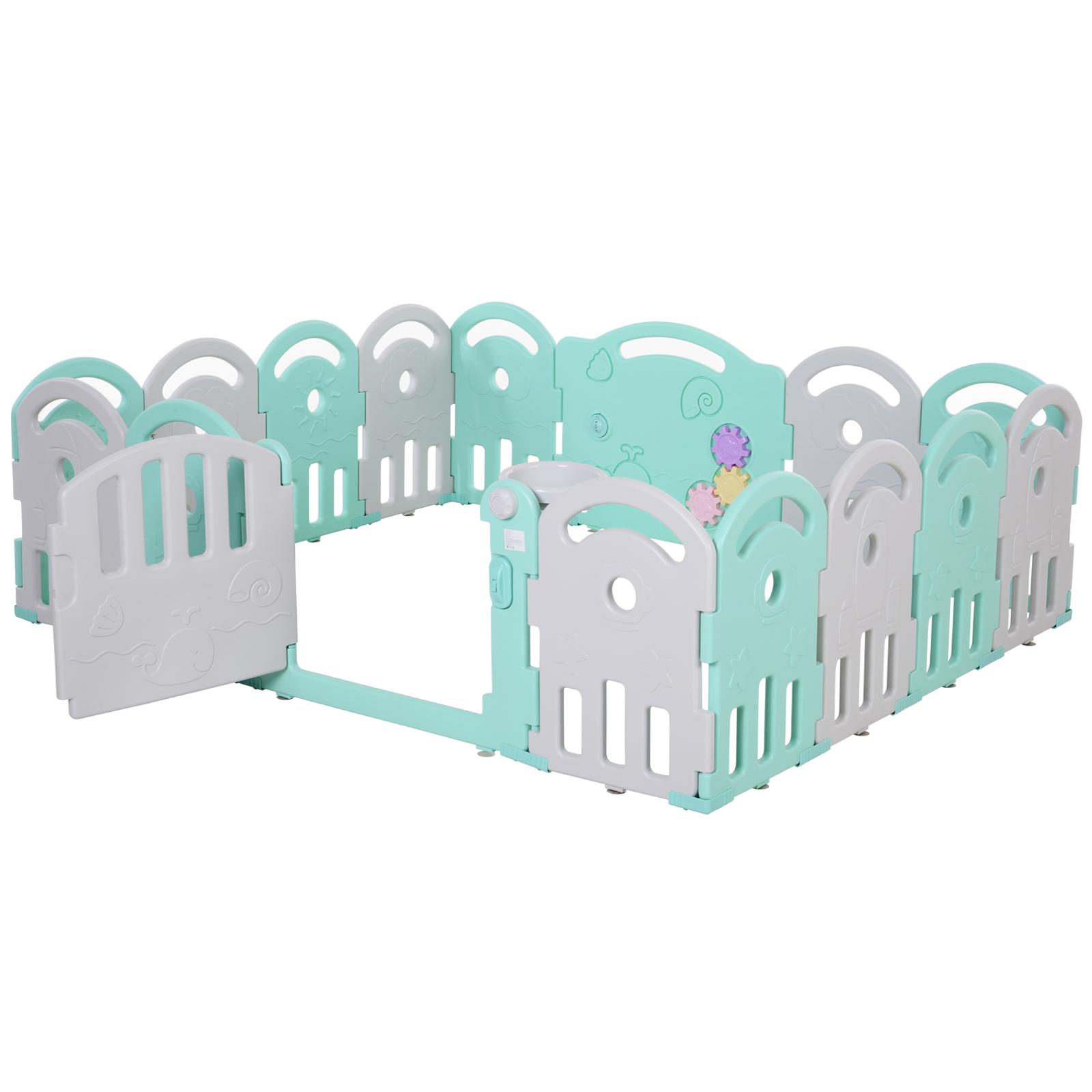 Qaba-16-Pcs-Safety-Children-Playpen-Green-Game-Panel-Anti-Pushing-Over thumbnail 14