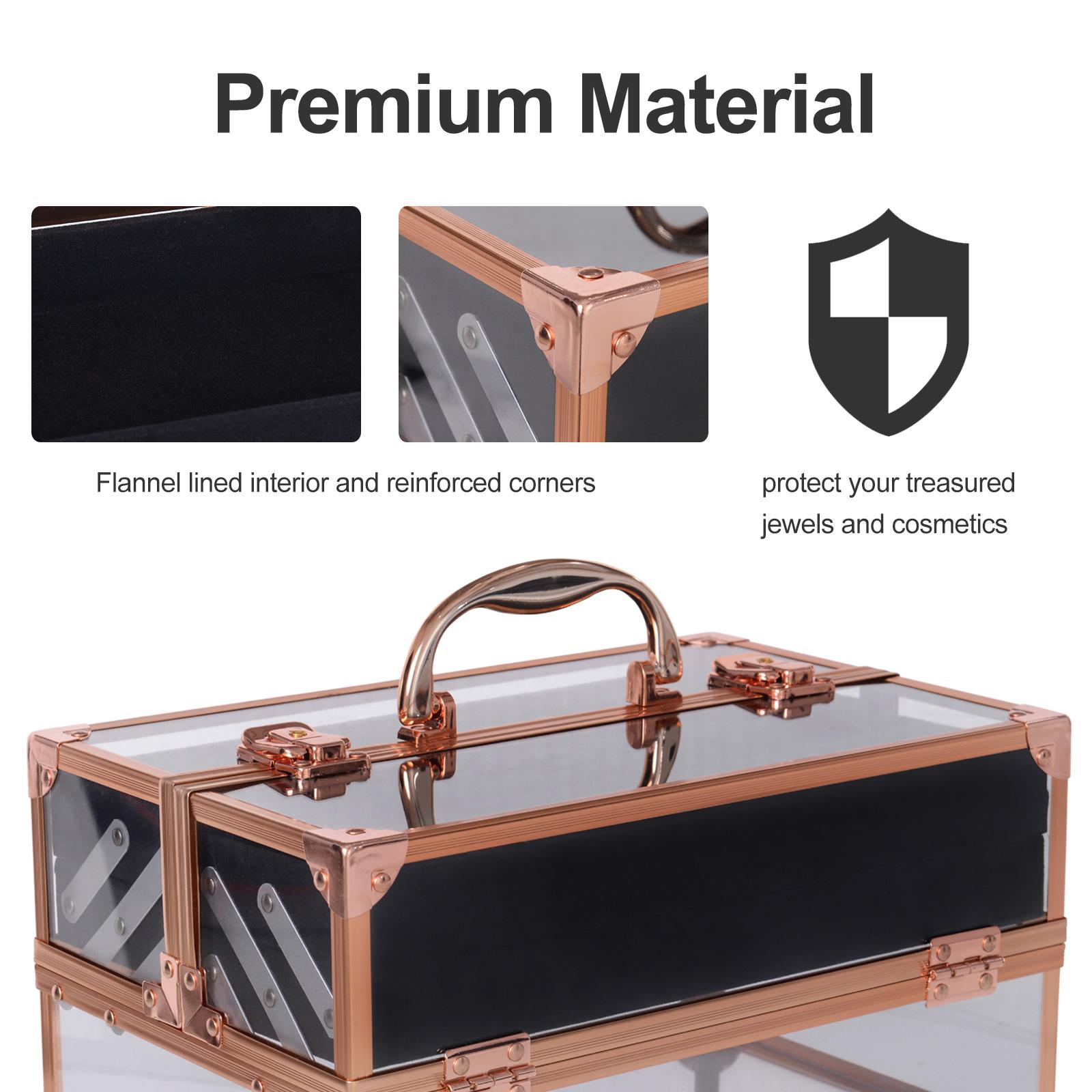 Portable-Makeup-Case-Train-Case-Lockable-Aluminum-with-4-Trays thumbnail 11