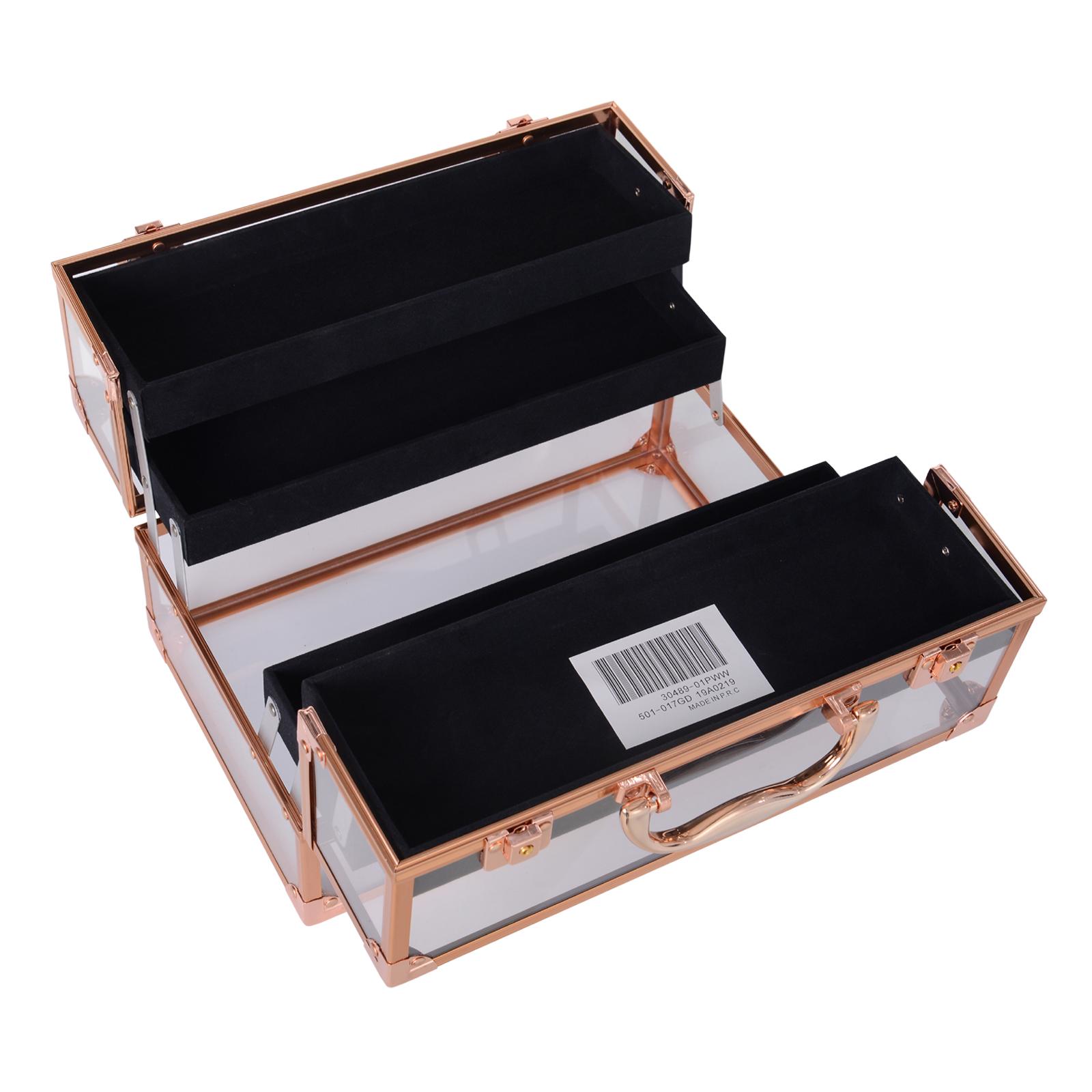 Portable-Makeup-Case-Train-Case-Lockable-Aluminum-with-4-Trays thumbnail 14