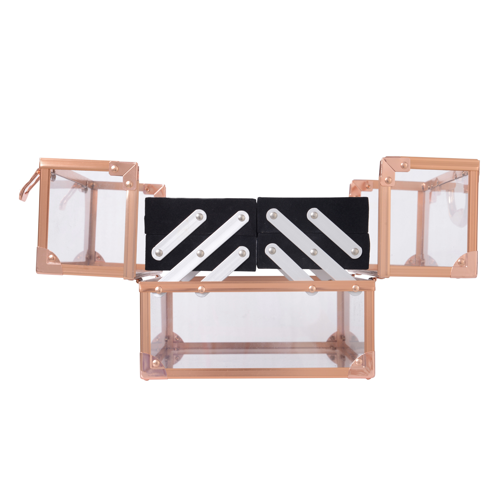 Portable-Makeup-Case-Train-Case-Lockable-Aluminum-with-4-Trays thumbnail 15