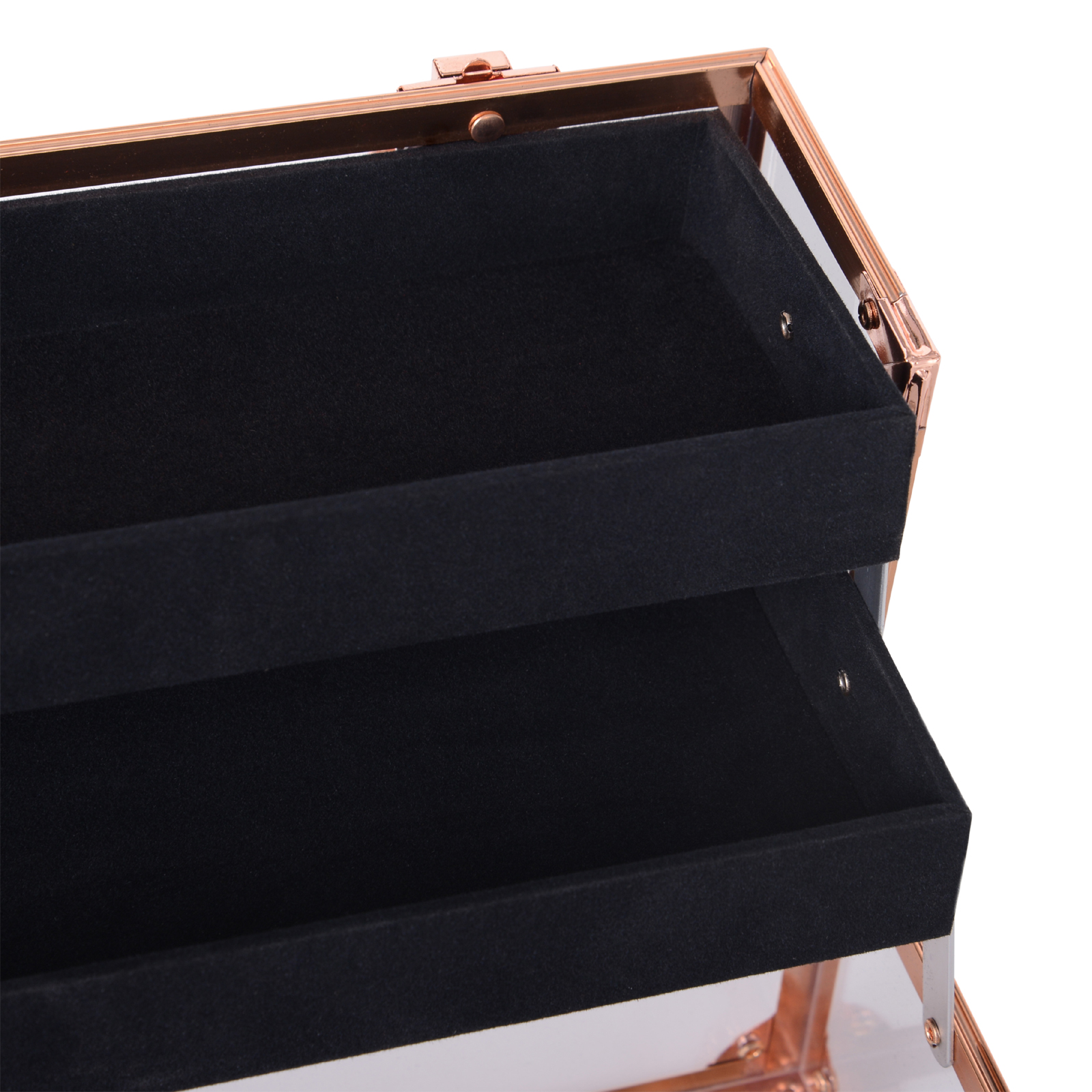 Portable-Makeup-Case-Train-Case-Lockable-Aluminum-with-4-Trays thumbnail 16