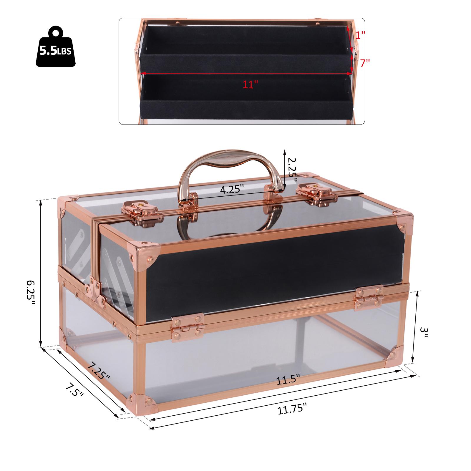Portable-Makeup-Case-Train-Case-Lockable-Aluminum-with-4-Trays thumbnail 10