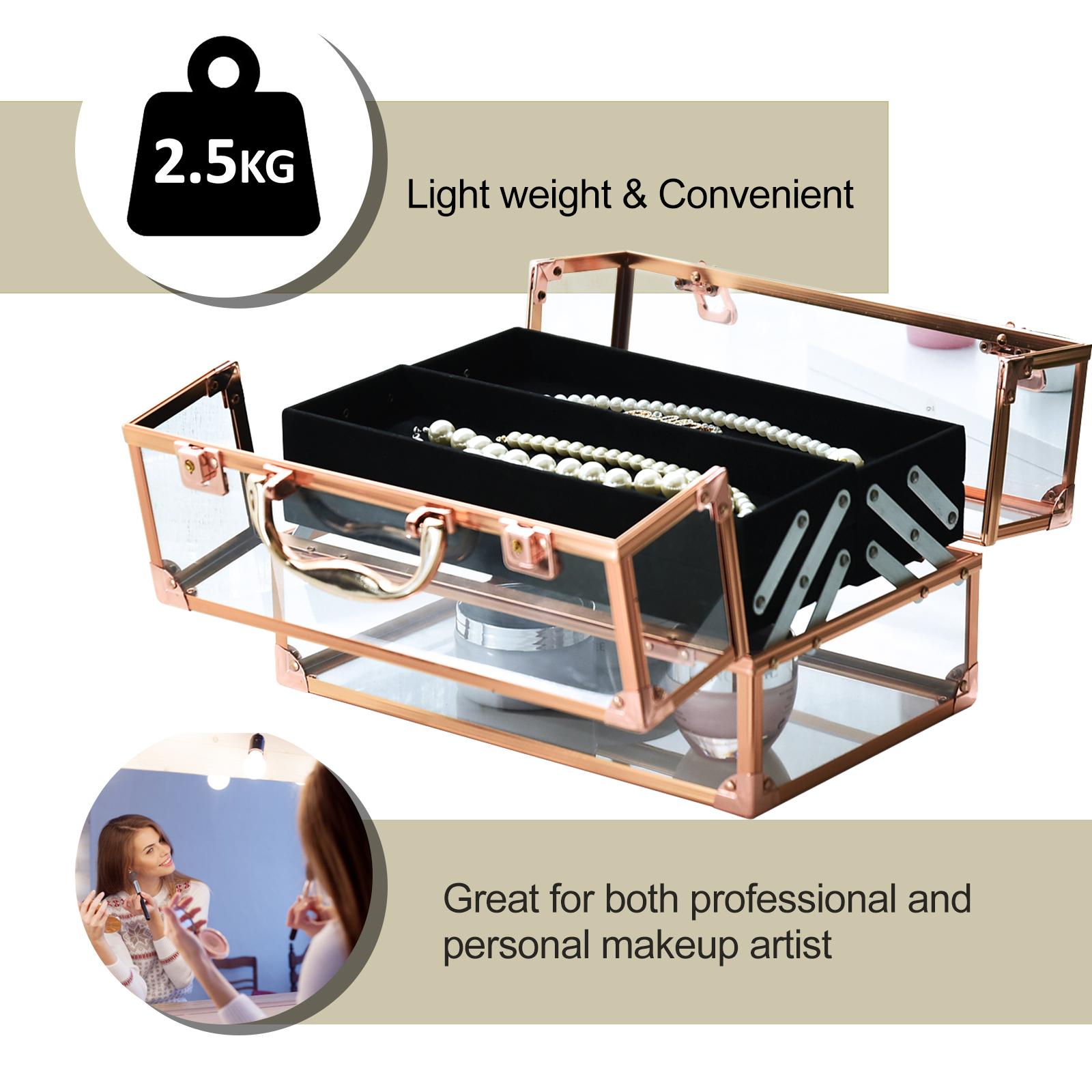 Portable-Makeup-Case-Train-Case-Lockable-Aluminum-with-4-Trays thumbnail 13