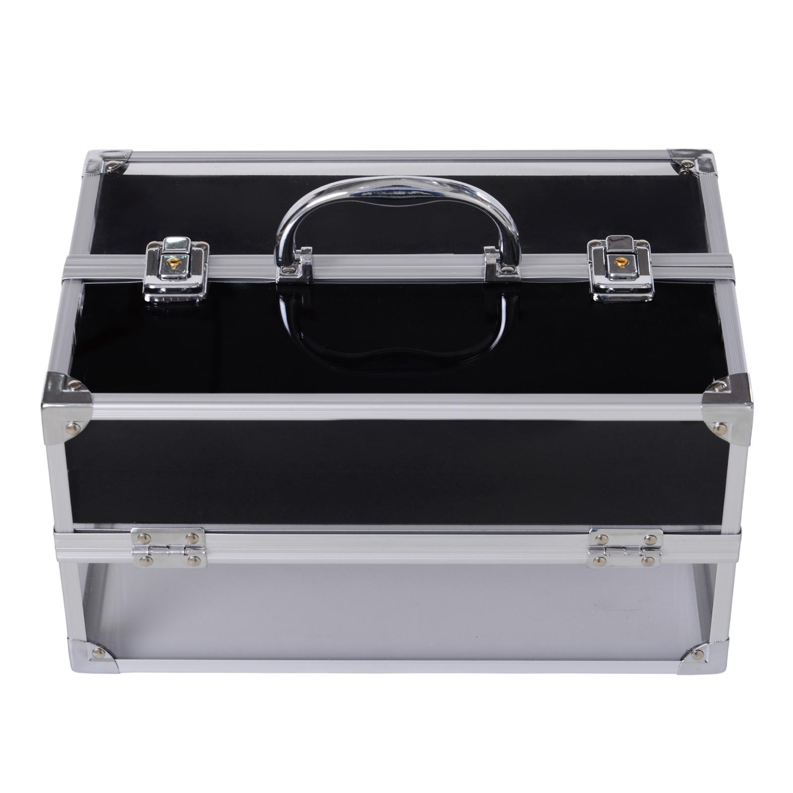 Portable-Makeup-Case-Train-Case-Lockable-Aluminum-with-4-Trays thumbnail 23