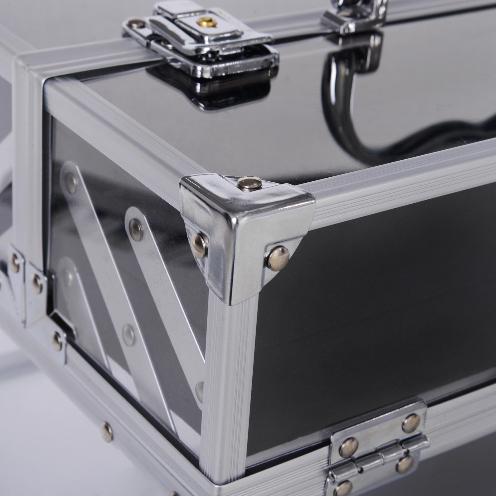 Portable-Makeup-Case-Train-Case-Lockable-Aluminum-with-4-Trays thumbnail 24