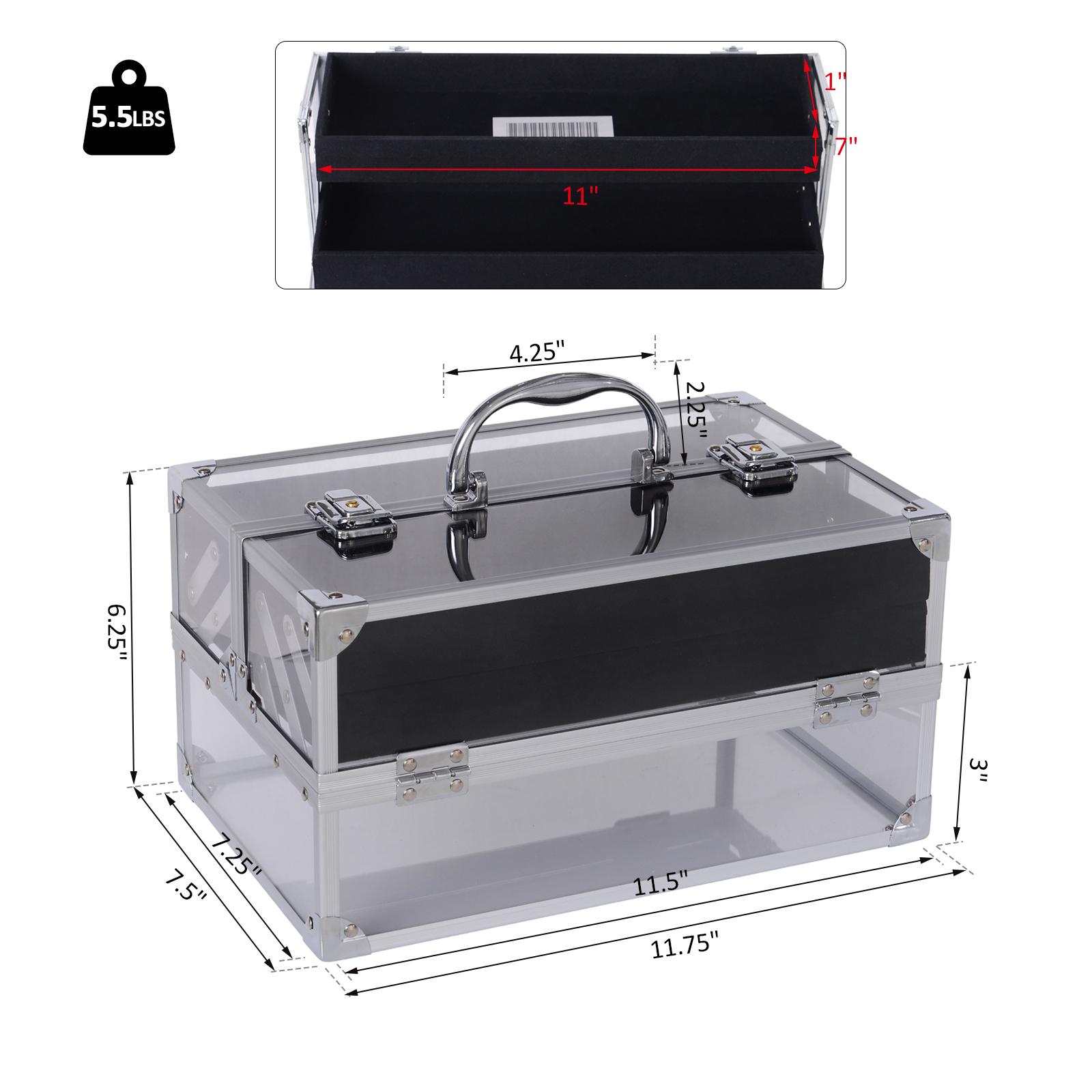 Portable-Makeup-Case-Train-Case-Lockable-Aluminum-with-4-Trays thumbnail 19