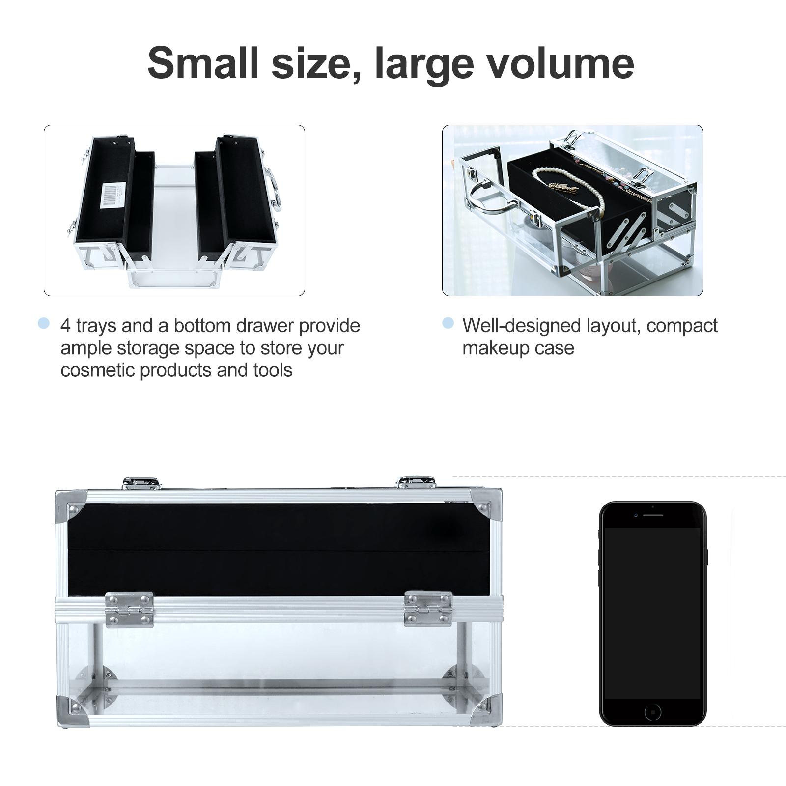 Portable-Makeup-Case-Train-Case-Lockable-Aluminum-with-4-Trays thumbnail 20