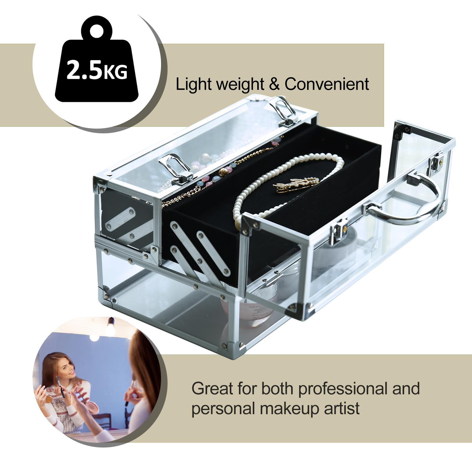 Portable-Makeup-Case-Train-Case-Lockable-Aluminum-with-4-Trays thumbnail 21