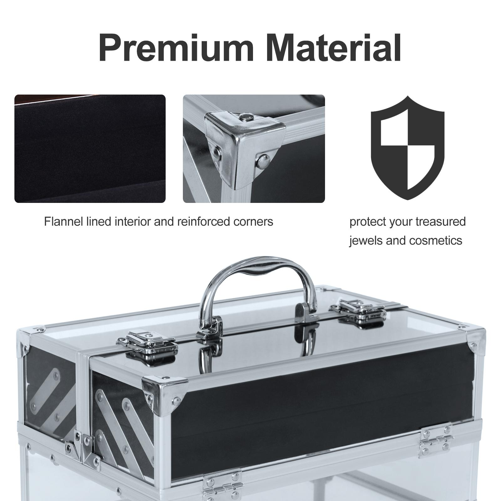 Portable-Makeup-Case-Train-Case-Lockable-Aluminum-with-4-Trays thumbnail 22