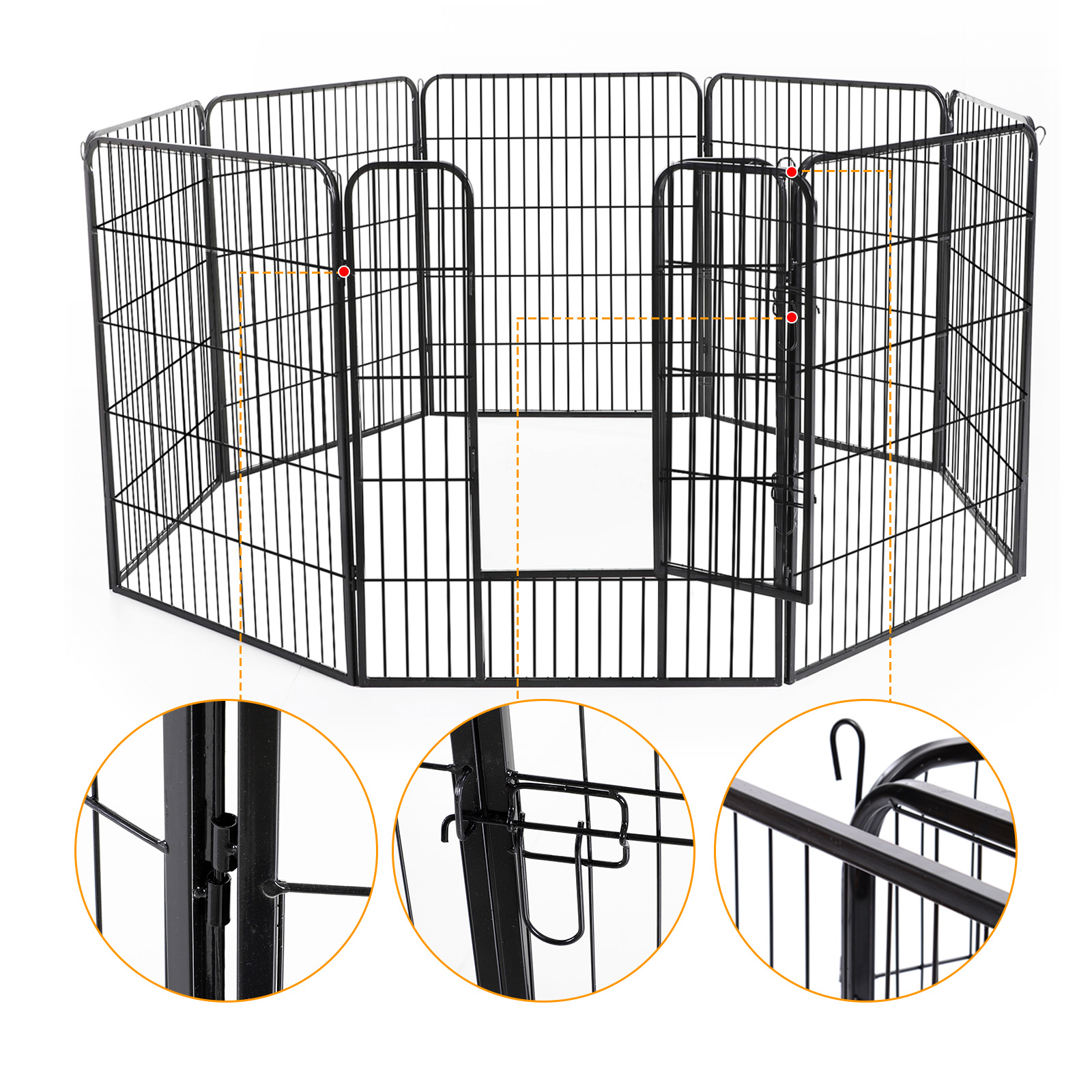 Heavy-Duty-Pet-Playpen-Dog-Exercise-Pen-Cat-Fence-Black-8-Panel-24-034-32-034-39-4-034 thumbnail 17