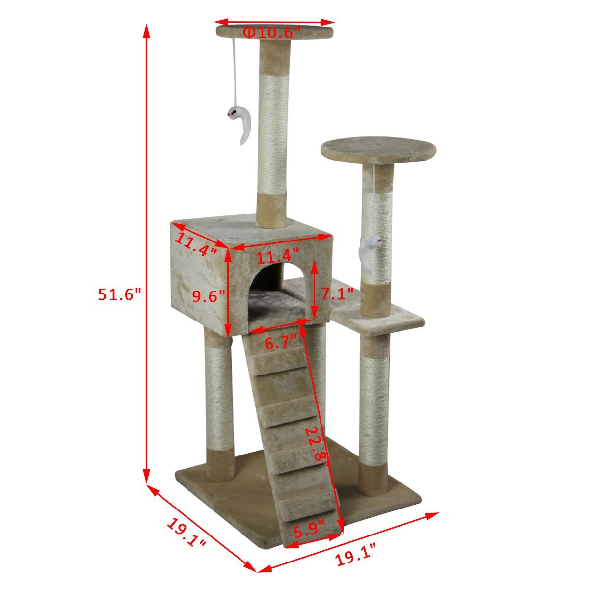 52-039-039-Cat-Tree-Multi-Level-Tower-Kitten-Condo-House-Activity-Center-Pet-Furniture thumbnail 3
