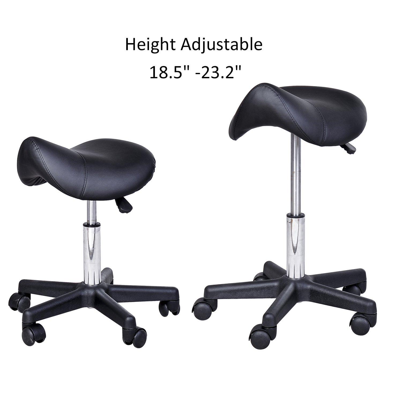 Saddle Salon Stool Adjustable Swivel Massage Spa Beauty