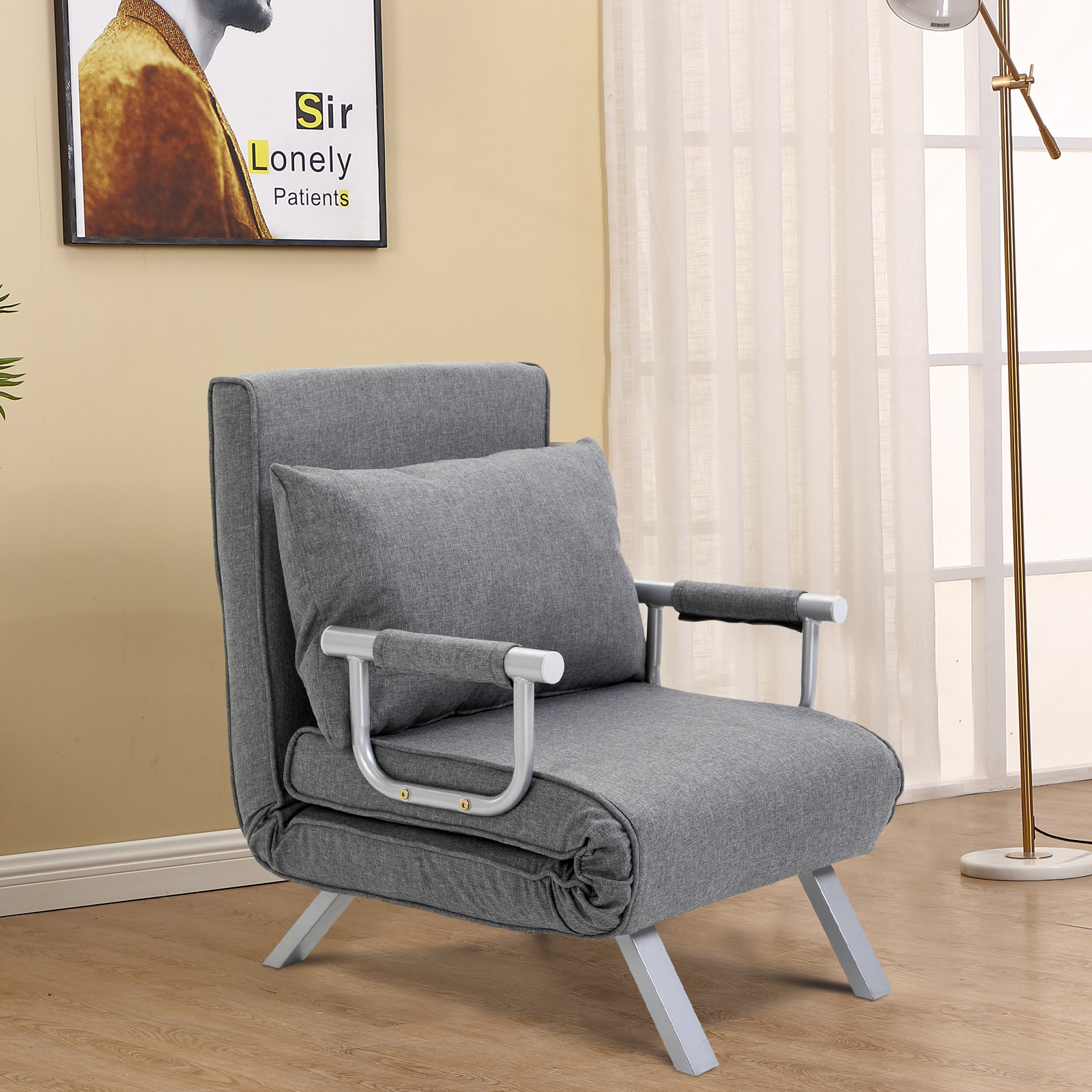Details about HOMCOM Convertible Sleeper Chair Folding Sofa Bed