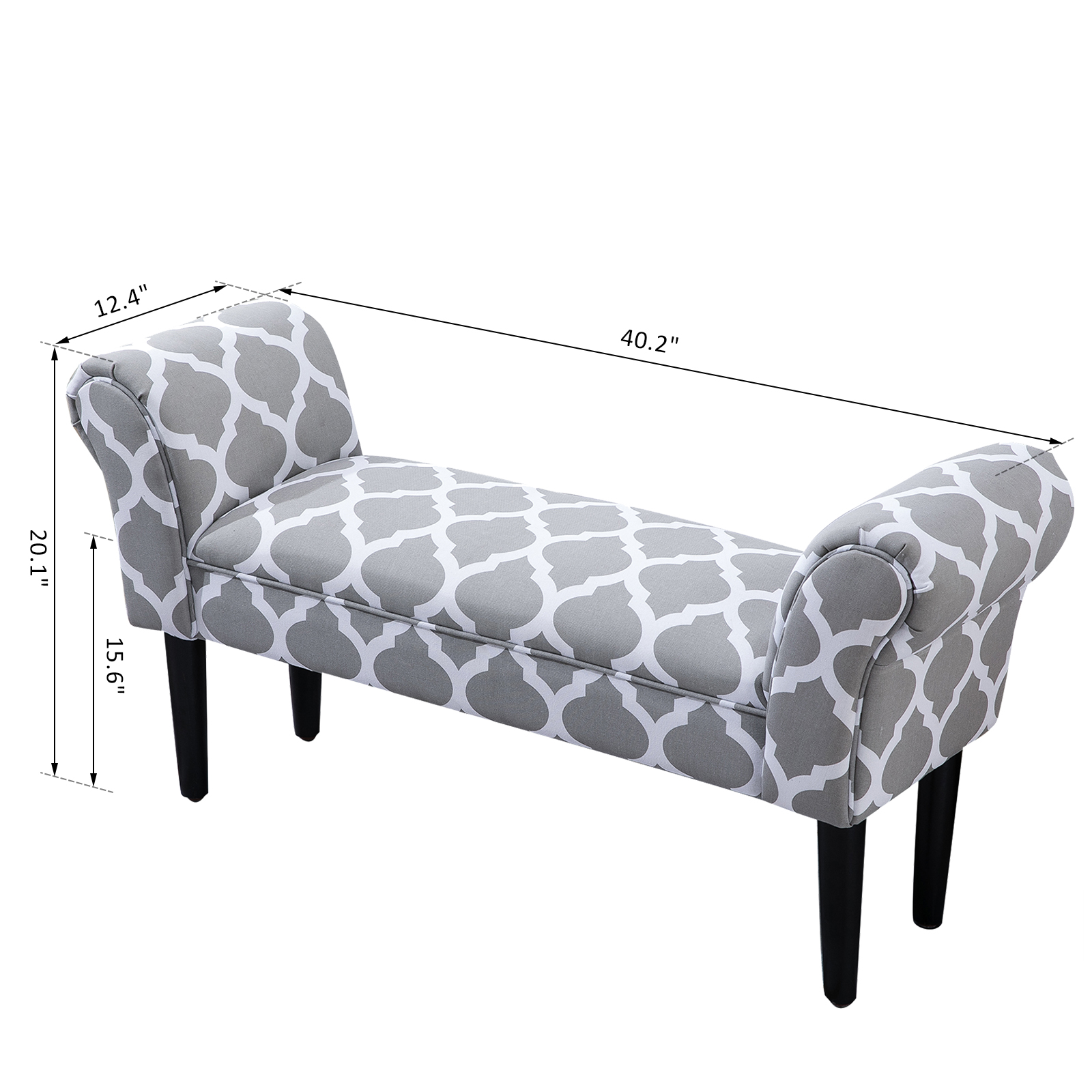Elegant-Rolled-Arm-Bench-Bedside-End-of-Bed-Footstool-w-Arms-2-SIZE thumbnail 3