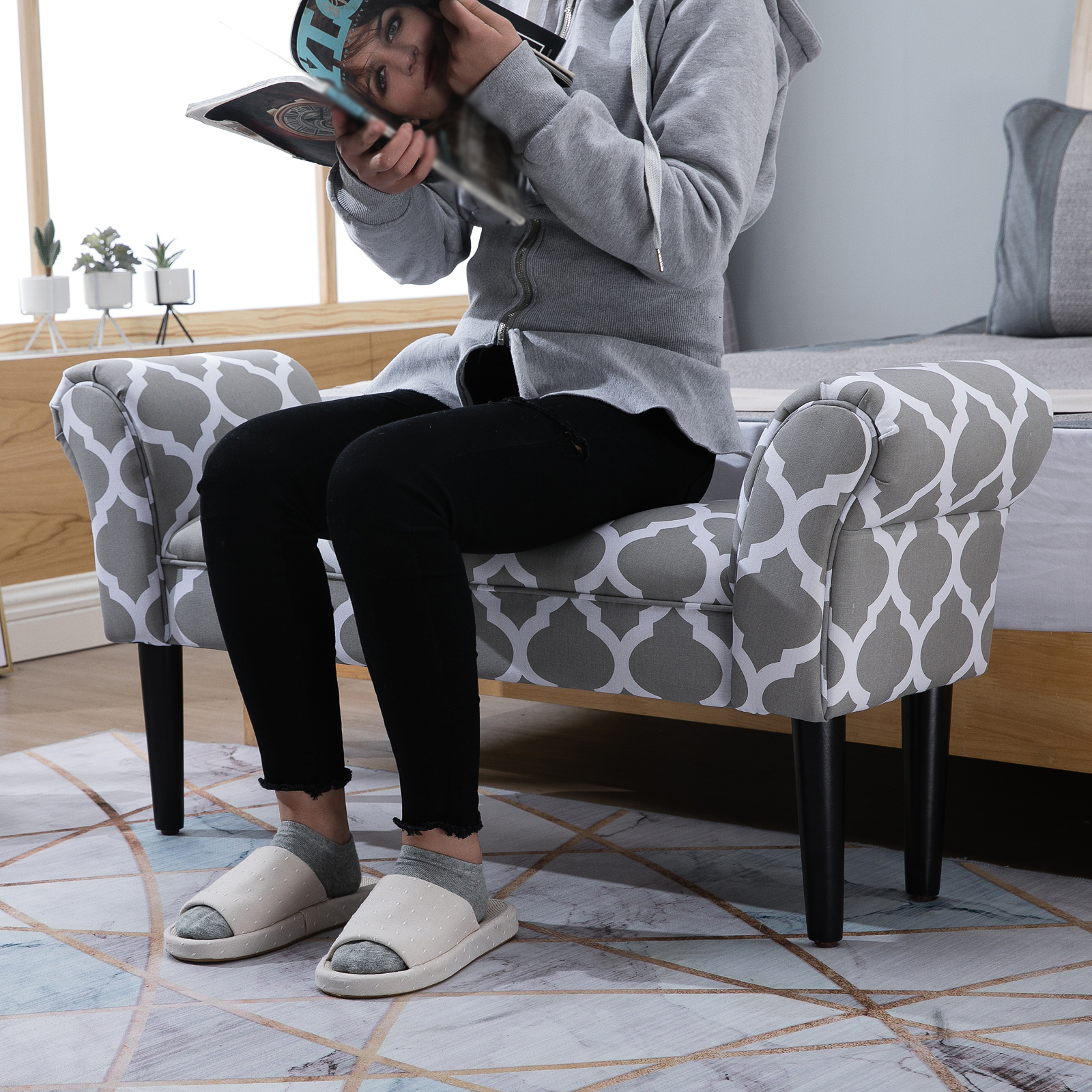 Outstanding Details About 40 Deluxe Fabric Bed Bench Bedside Bench Footstool With Arms End Of Bed Beatyapartments Chair Design Images Beatyapartmentscom