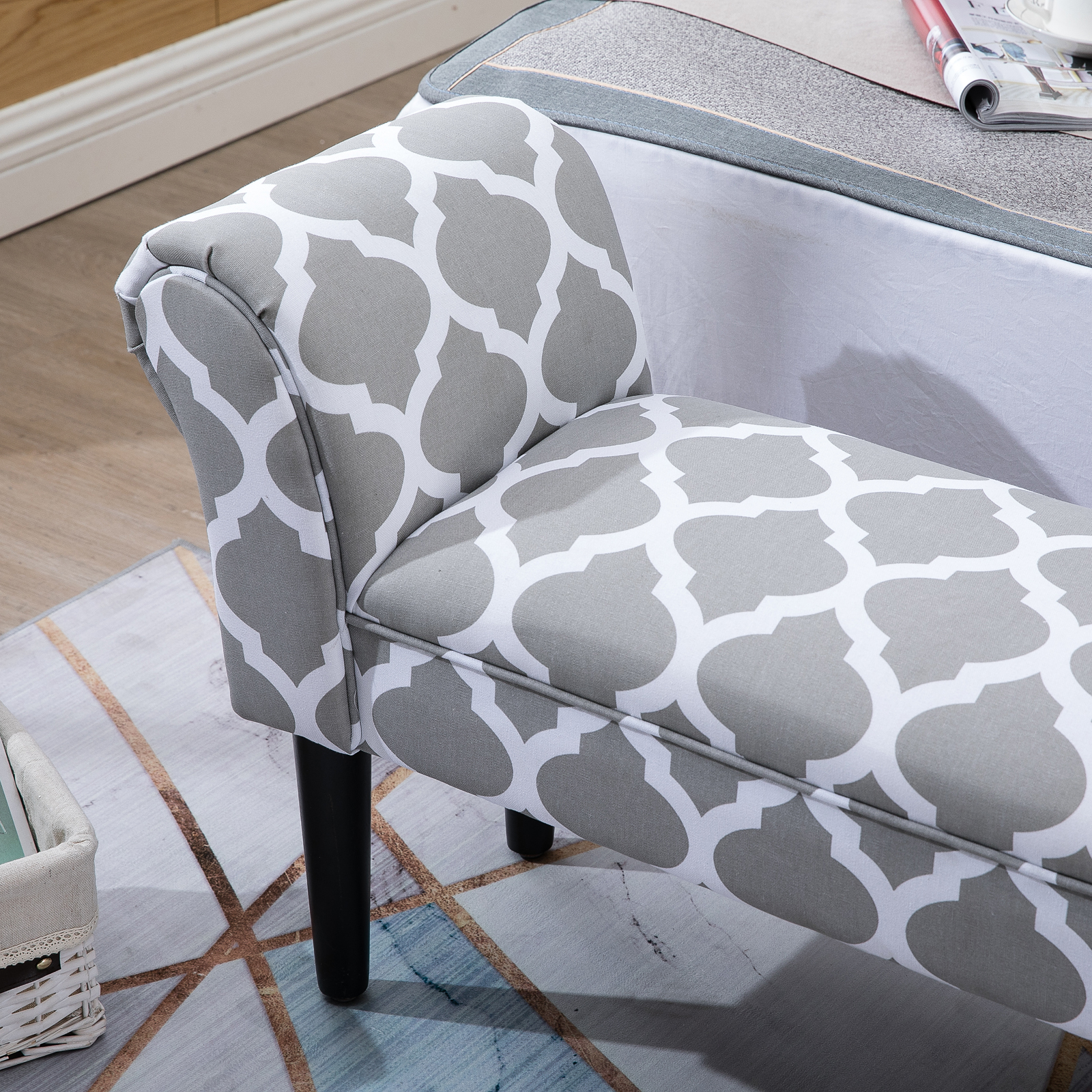 Elegant-Rolled-Arm-Bench-Bedside-End-of-Bed-Footstool-w-Arms-2-SIZE thumbnail 6
