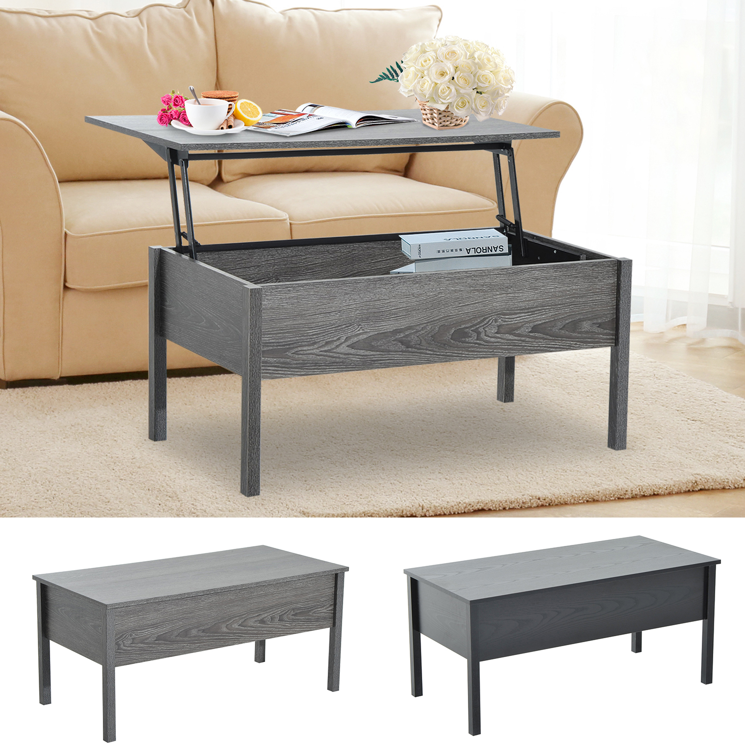 "Details about 5"" Modern Lift Top Coffee Table Floating Retractable Lift  Top Hidden Storage"