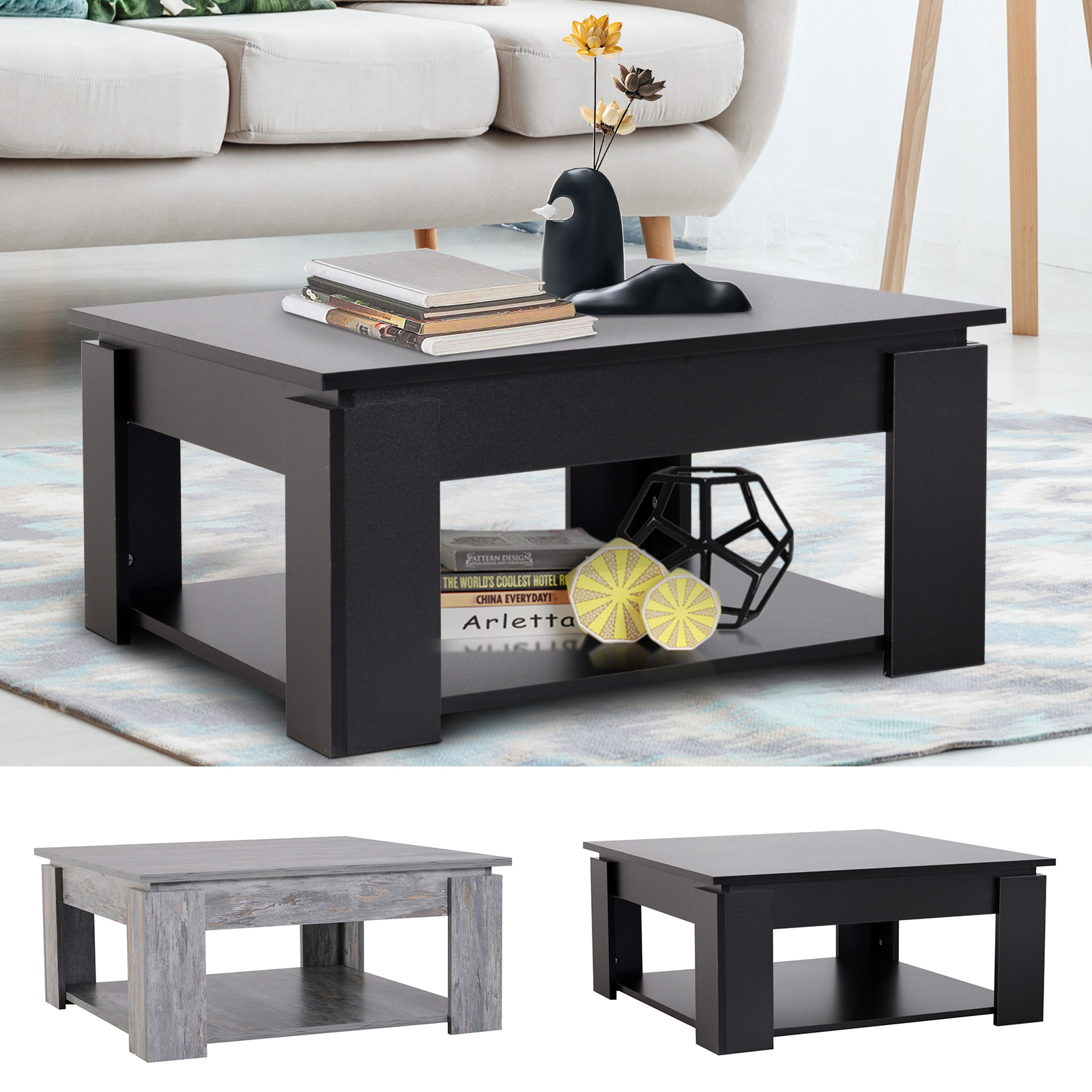 Picture of: 2 Tier Modern Coffee Table Accent Console End Table Living Room Bottom Shelf Ebay