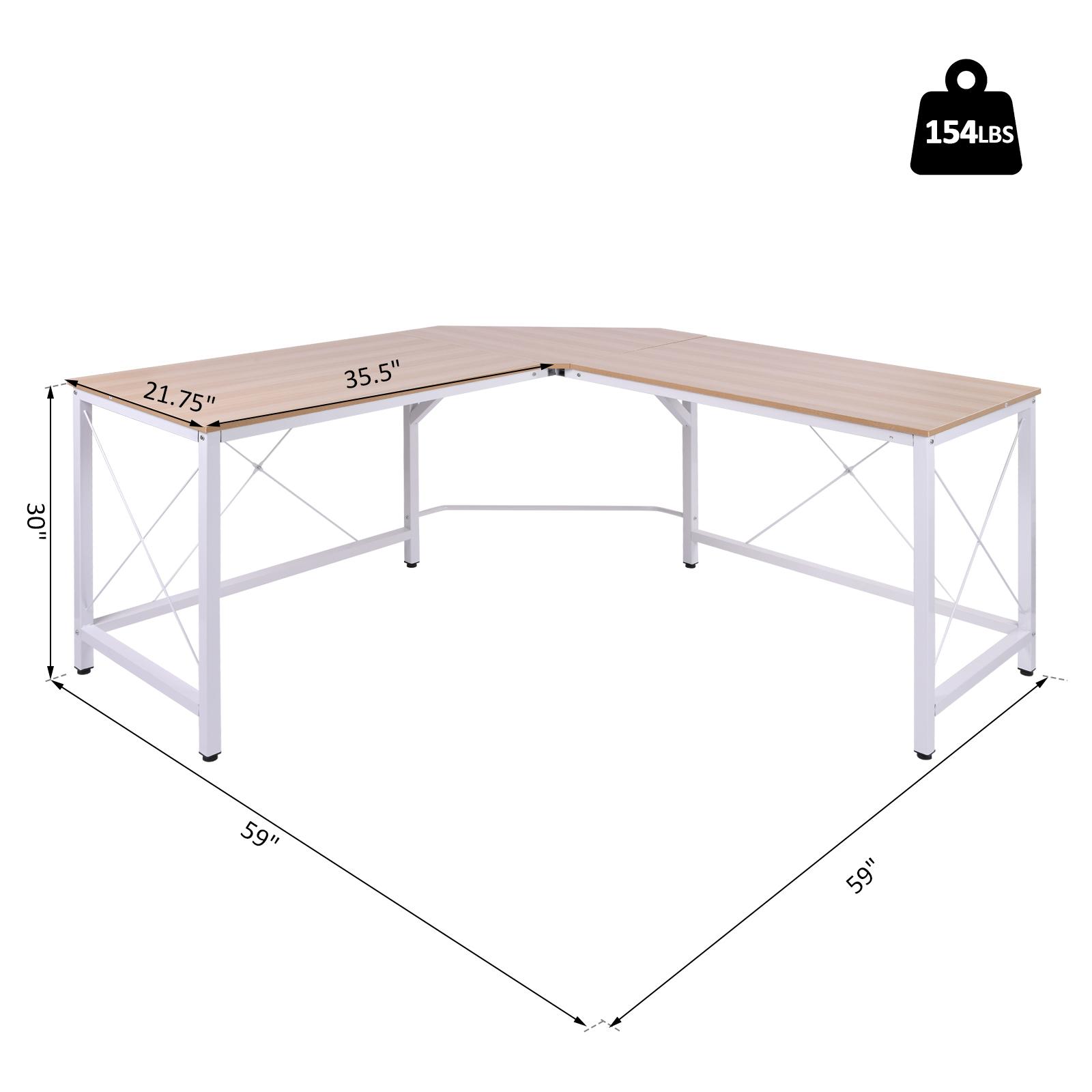L-Shaped-Computer-Desk-Office-Wood-Corner-PC-Workstation-Large-Gaming-Desk-Table miniature 12