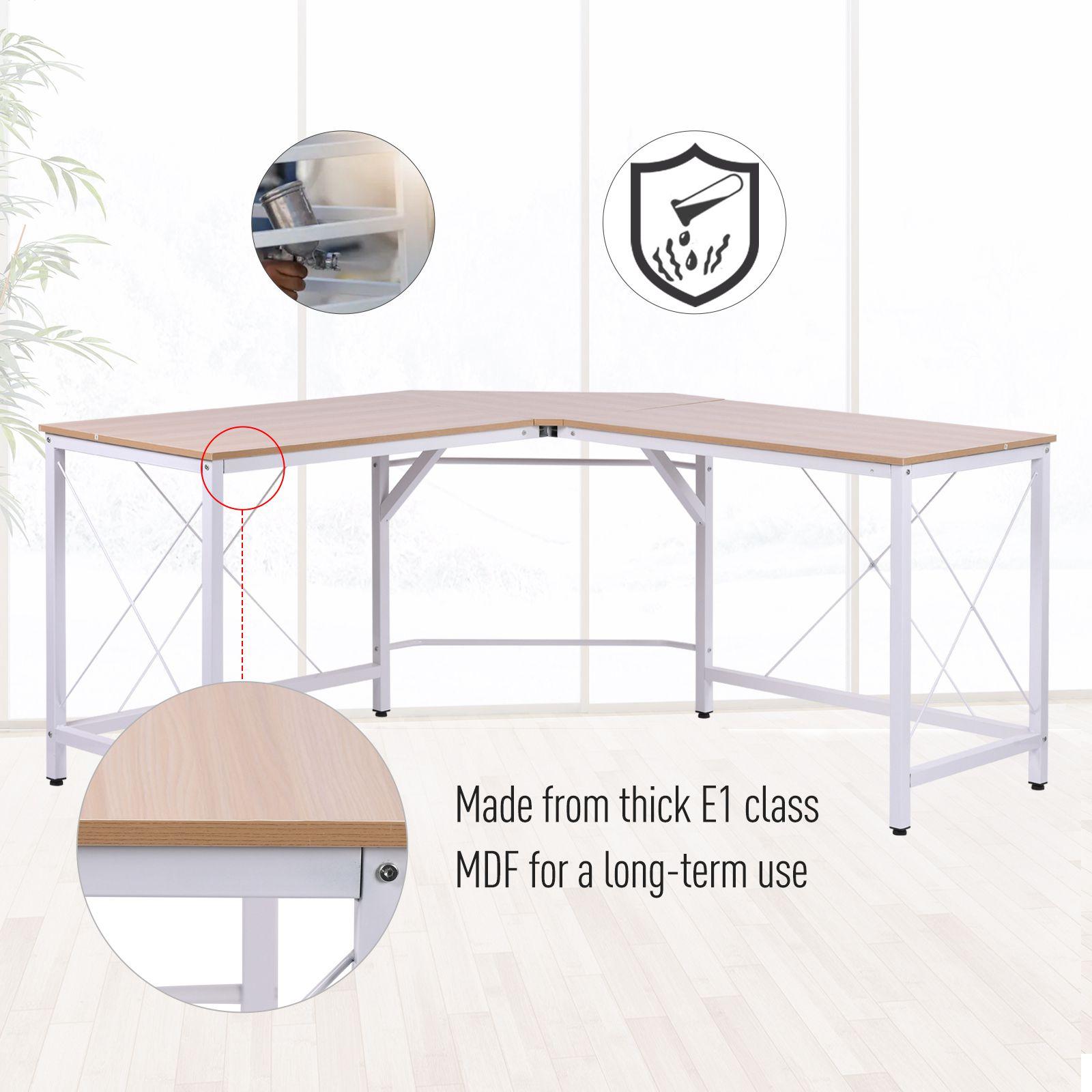 L-Shaped-Computer-Desk-Office-Wood-Corner-PC-Workstation-Large-Gaming-Desk-Table miniature 13