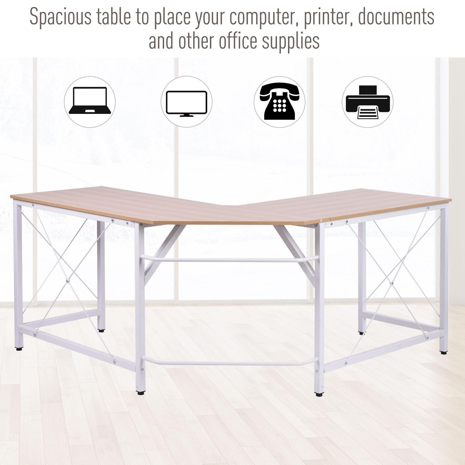 L-Shaped-Computer-Desk-Office-Wood-Corner-PC-Workstation-Large-Gaming-Desk-Table miniature 14