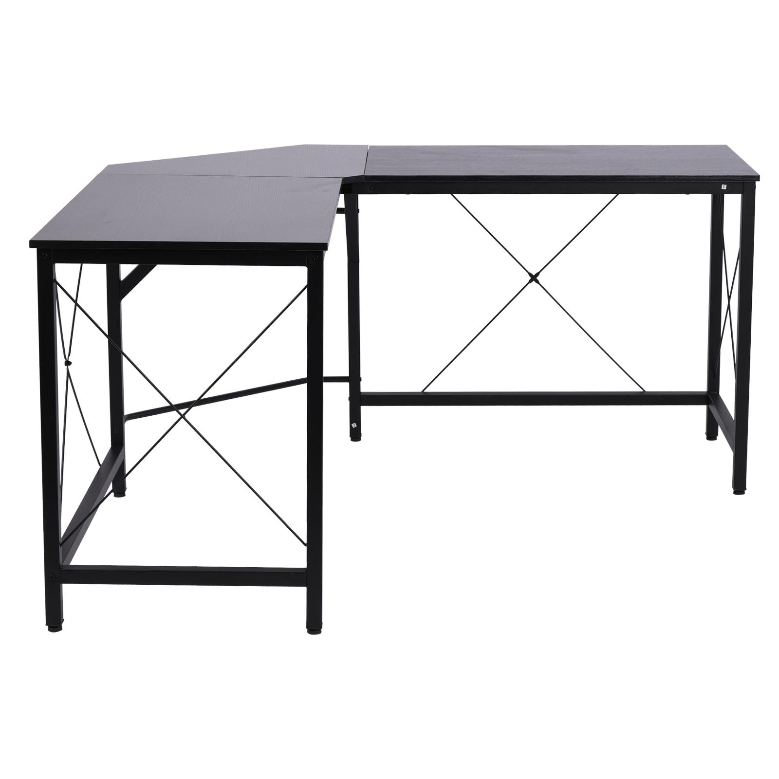 L-Shaped-Computer-Desk-Office-Wood-Corner-PC-Workstation-Large-Gaming-Desk-Table miniature 8